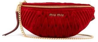 Miu Miu Matelasse-quilted Velvet Belt Bag - Womens - Red