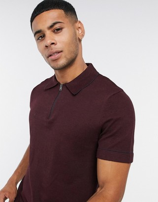 Selected knitted 1/4 zip polo in burgundy