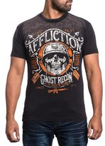 Affliction Men Shirt Live Fast Ghost Skull Soldier S/S Crew Neck in wash