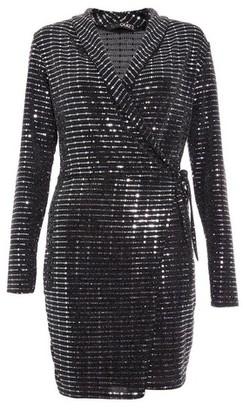 Dorothy Perkins Womens *Quiz Black Glitter Wrap Dress