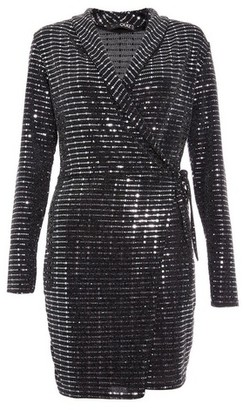Dorothy Perkins Womens Quiz Black Glitter Wrap Dress