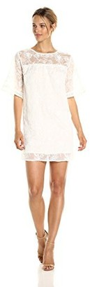 Lucca Couture Women's Embroidered Short Sleeve Mini Dress