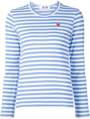 Comme des Garcons heart logo striped T-shirt