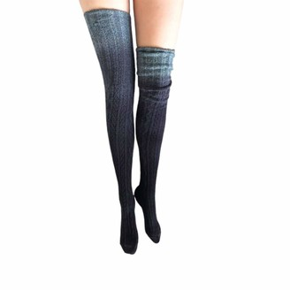 Rouyamiao Womens Girls Winter Cable Knitted Over Knee Socks Thigh High Boot Socks Leg Warmer (Gray One Size )