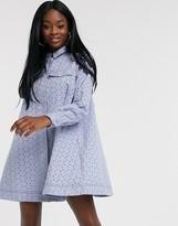 Asos Design DESIGN broderie trapeze mini shirt dress in blue