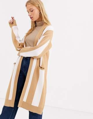 Selected long knit cardigan-Tan