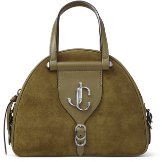 Jimmy Choo VARENNE BOWLING/S Khaki Suede and Leather Bowling Bag with JC Emblem