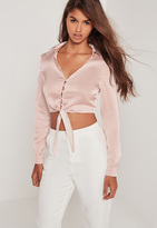 Missguided Button Front Satin Tie Crop Blouse Pink