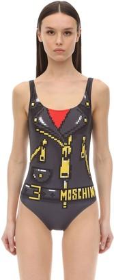 Moschino Biker Printed Lycra One Piece Swimsuit