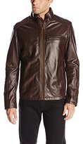 Cole Haan Men's Smooth Leather Moto Jacket