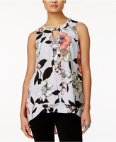 NY Collection Sleeveless Floral-Print Blouse