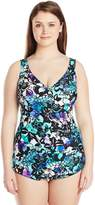 Maxine Of Hollywood Women's Plus-Size Fauna Crescent Sheath One Piece Swimsuit