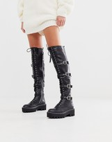 Lamoda black extreme lace up flat over the knee boots