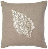 Aura Conch Bead Square Throw Pillow in Natural/White