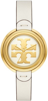 Tory Burch Miller Watch, Ivory Leather/Gold, 36 Mm