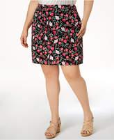 Karen Scott Plus Size Floral-Print Skort, Created for Macy's