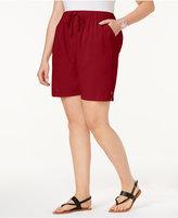 Karen Scott Plus Size Lisa Drawstring Cotton Shorts, Created for Macy's