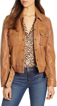 Lucky Brand Femme Leather Utility Jacket