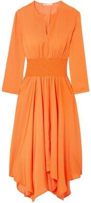 Maje Ranaela Asymmetric Shirred Voile Midi Dress