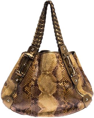 Gucci Gold/Beige Python and Leather Medium Pelham Hobo
