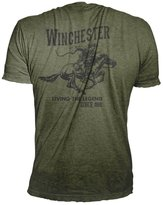 Official Winchester Mens Cotton Vintage Rider Graphic Printed Short Sleeve T-Shirt (XXL, Military Heather)
