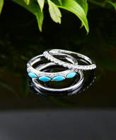 Vera & Co. Women's Rings - Turquoise Marquise Bead & Sterling Silver Ring Set