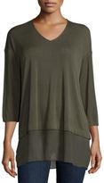 Eileen Fisher 3/4-Sleeve Silk Jersey Blouse, Plus Size