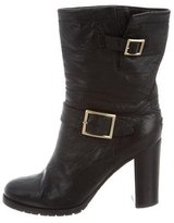 Jimmy Choo Buckle-Embellished Leather Ankle Boots