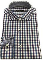 Bugatchi Men's Gingham Jacquard Slim Fit Long Sleeve Shirt