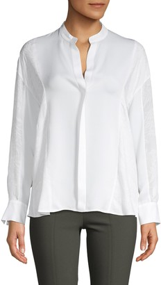 Vince Mixed Media Collarless Silk Blouse
