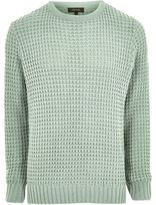 River Island Mint Green Textured Waffle Knit Jumper
