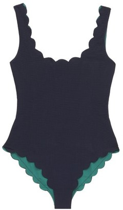 Marysia Swim Palm Springs Scalloped-edge Swimsuit - Womens - Blue Multi