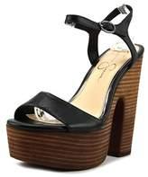 Jessica Simpson Whirl Women Open Toe Leather Black Platform Heel.