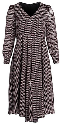 Marina Rinaldi, Plus Size Square Print Long Sleeve Dress