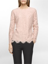 Calvin Klein Allover Lace Long Sleeve Top