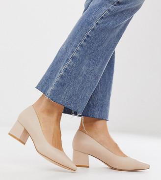 Truffle Collection wide fit pointed mid heel block heels in beige