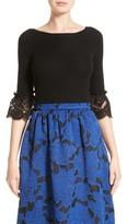 Oscar de la Renta Women's Lace Sleeve Wool Sweater