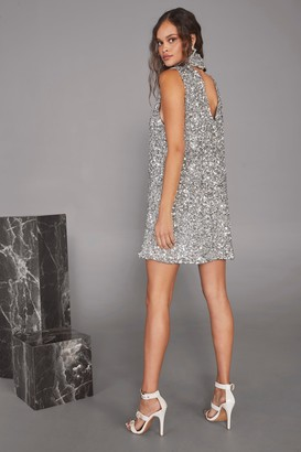 Nasty Gal Womens The Beat Goes On Sequin Mini Dress - Grey - 10