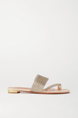 Aquazzura Sunny Metallic Leather Sandals - Beige