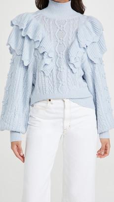Autumn Cashmere Victorian Double Ruffle Fisherman Mock Sweater