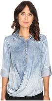 Blank NYC Denim Drape Front Shirt in Glamper