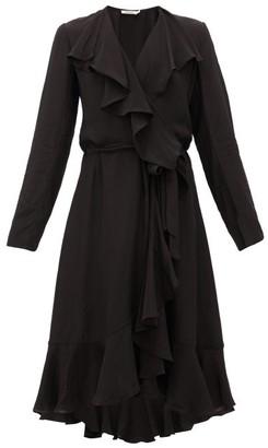 Mes Demoiselles Exauce Ruffled Waterfall-hem Silk Dress - Black