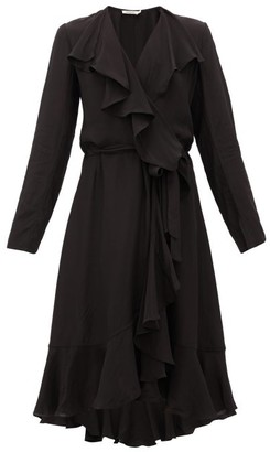 Mes Demoiselles Exauce Ruffled Waterfall-hem Silk Dress - Womens - Black