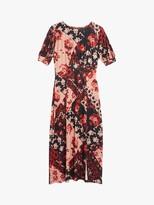 Oasis Rose Print Midi Dress, Red/Multi