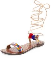 Sam Edelman Lancie Ankle-Wrap Leather Sandal