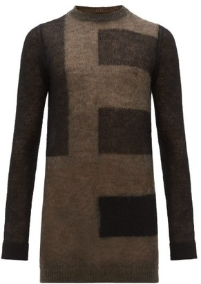 Rick Owens Abstract Stripe Mohair Blend Sweater - Mens - Black Brown