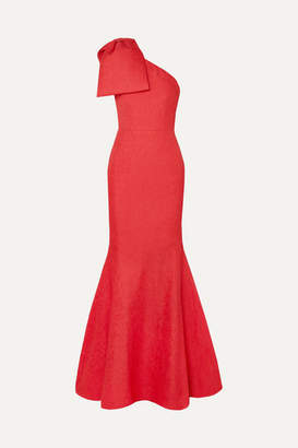 Rebecca Vallance Francesca One-shoulder Bow-detailed Cloque Gown - Coral
