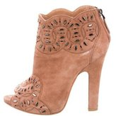Alaia Embellished Peep-Toe Booties