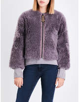 MiH Jeans Ladies Violet Indigo Exposed Zip Purdy Cropped Shearling Jacket