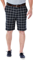 Haggar Big & Tall Cool 18 Woven Plaid Short - Classic Fit, Pleated Front, Hidden Expandable Waistband